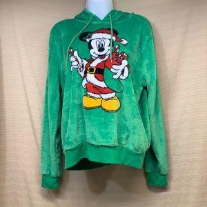 Disney Mickey Mouse Christmas Green Fleece Drawstring Hoodie Santa Soft Med GUC